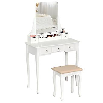 HOMCOM Dressing Table Set with 360° Spin Mirror and Cushioned Stool, Makeup Vanity Dresser Desk with 5 Drawers for Bedroom, White