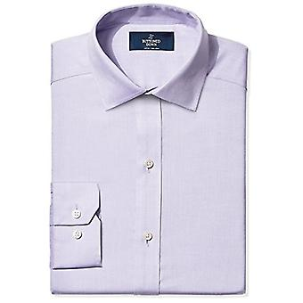 BUTTONED DOWN Men's Fitted Spread-Collar Non-Iron Dress Shirt, Purple, 16