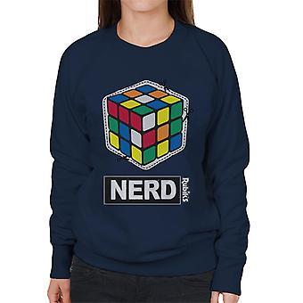 Rubiks kub skära ut nörd kvinnors Sweatshirt