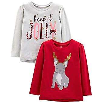 Simple Joys by Carter's Girls' Toddler 2-Pack Christmas Long-Sleeve Tees, Dog...