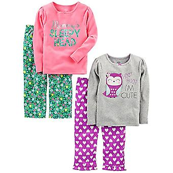 Simple Joys by Carter's Baby Girls' Toddler 4 Piece Pajama Set, Owl/Floral, 3T