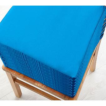 Turquoise 8pk Seat Pad Cushions with Secure Fastening Dining Kitchen Chairs Soft Cotton Twill
