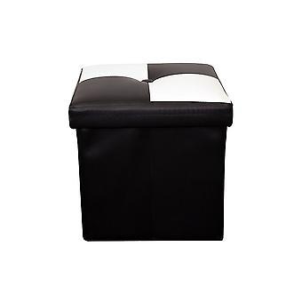 Puff Sgabello Baule Bianco Nero Cubo Design Moderno 30x30x30