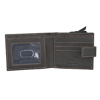 Primehide Mens Leather Wallet RFID Blocking Large Coin Pocket Gent Notecase 8004