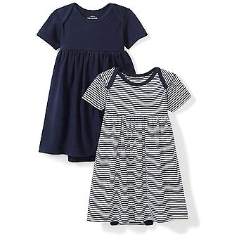 Moon and Back Baby Girls Set of 2 Organic Short-Sleeve Dresses, Navy Sea, New...