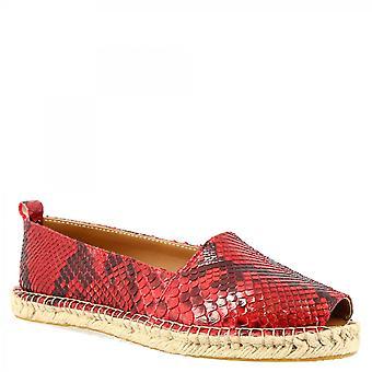 Leonardo Schuhe Frauen 's handgemachte Peep Toe Espadrilles in rotem Python Leder