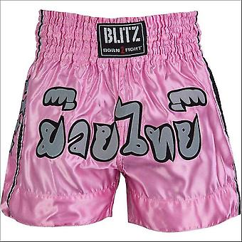 Blitz sports kids muay thai fight shorts - pink