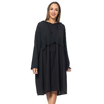 Loose fit dress with back  flounces , side pocket and hood
