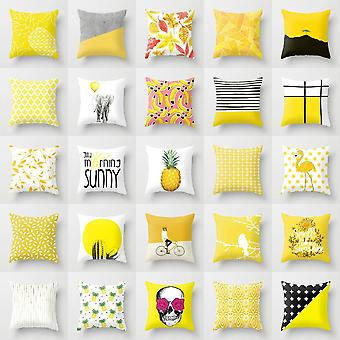 Yellow Pineapple Linen Cotton Cushion Case For Home Bedroom Decor