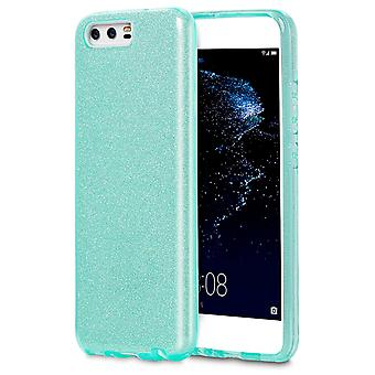 Scale for Huawei P10 Plus Rhinestones Shiny Lxy Silicone Soft Fancy Glitter Green