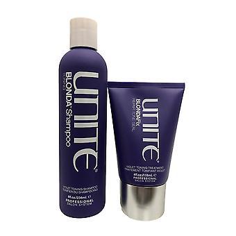Unite Blonda Toning Shampoo 8 OZ & Blonda Fix Repair, Tone, Seal Conditioner 4 OZ Set