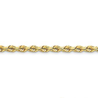 14k Yellow Gold Solid Sparkle Cut Lobster Claw Closure 5.5mm D Cut Rope Lobster Clasp Chain Anklet 9 Inch Lobster Claw J