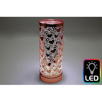 Heart LED Tall Rose Gold Oil Burner (UK Plug)