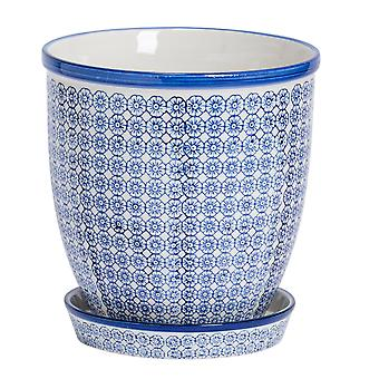 Nicola Spring Hand-Printed Plant Pot with Saucer - Porcelain Flower Pot and Drip Tray - Navy - 20 x 20.5cm