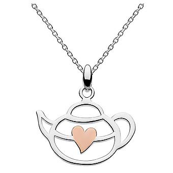 Dew Silver Afternoon Tea Teapot With Rose Gold Plate Heart Pendant 9476RG015