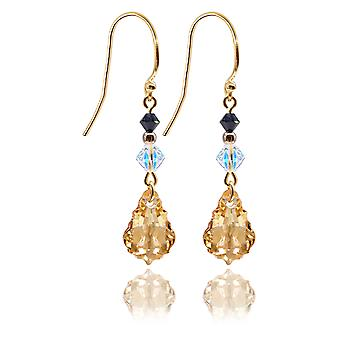 Ah! Jewellery Golden Shadow Baroque and AB Xilion Crystals From Swarovski Drop Earrings, Stamped 925