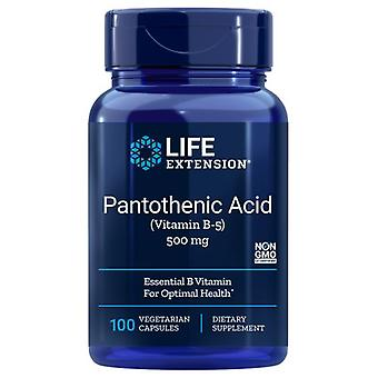 Life Extension Pantothenic Acid Vitamin B5, 500 MG, 100 V caps