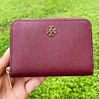 Tory burch emerson zip coin case wallet imperial garnet burgundy key ring