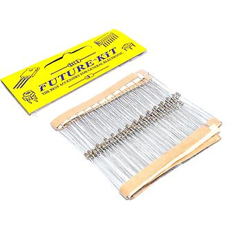 Future Kit 100pcs 4K7 ohm 1/8W 5% Metal Film Resistors