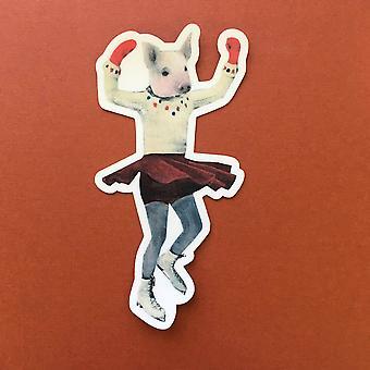 Eis Skate Schwein Vinyl Aufkleber