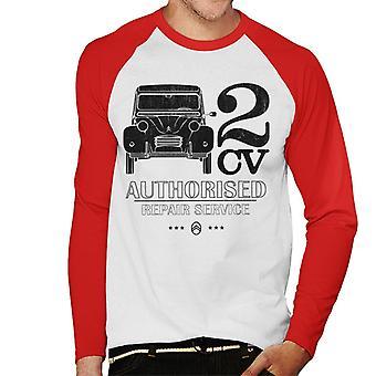 Citro n 2CV Valtuutettu korjaus huolto Musta Logo Men's Baseball Pitkähihainen T-paita