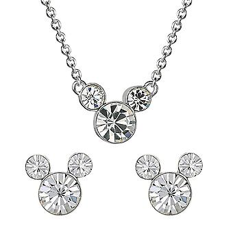 Disney Mickey Mouse Clear Stone Necklace and Earrings Set