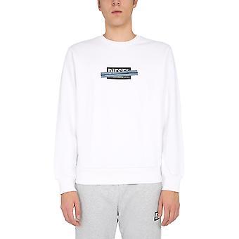 Diesel A010470kasl100 Men's White Cotton Sweatshirt