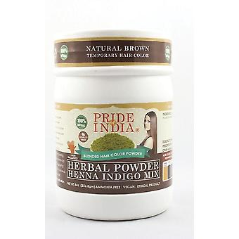 Herbal Henna & Indigo Mix Hair Color Powder W/ Gloves Natural Brown