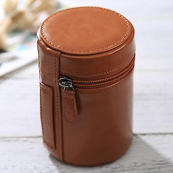 Medium Lens Case Zippered PU Leather Pouch Box for DSLR Camera Lens, Size: 13x9x9cm(Brown)