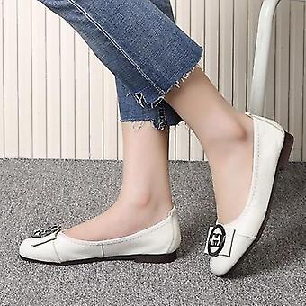 Autumn Women Ballet Flats Shoes, Genuine Leather & Metal Round Buckle / Square