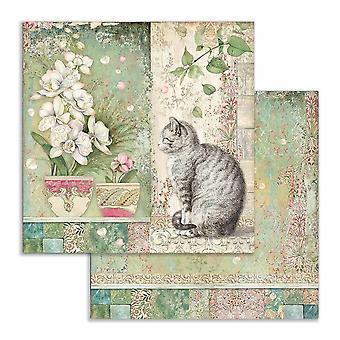 ستمبيريا القط وزهرية 12x12 بوصة ورقة ورقة