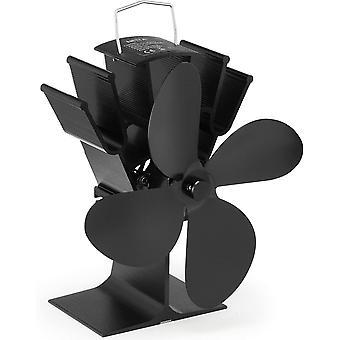 NETTA 4 Blade Woodburner Stove Fan - Silent Operation - Eco Friendly Circulation - Black