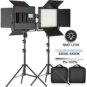Fositan led video light, 2-pack 3960 lux dimmable photography lighting kit with barndoor for studio