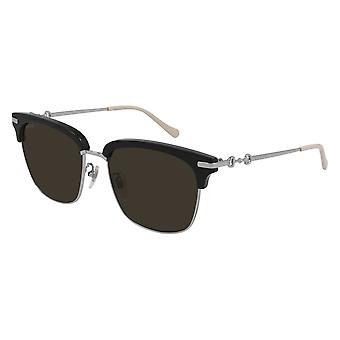 Gucci GG0918S 001 Black-Silver/Brown Sunglasses