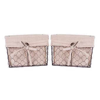 Dii Chicken Wire Med Basket (Set di 2) Naturale