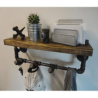 Water Pipe Rack, Iron Solid Wood Shelf, Wall Rack, Hook, Household Clothing