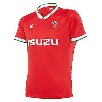 Macron Wales 2020/21 Kids Home Replica Rugby Union Jersey Shirt Top Red
