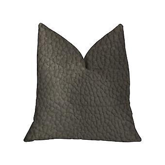 """Plutus Modern Black Black Artificial Leather Luxury Throw Pillow - Doppio lato 20"""" X 20"""""""