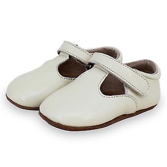 SKEANIE Leather T-Bar Pre-Walker Shoes in Ivory