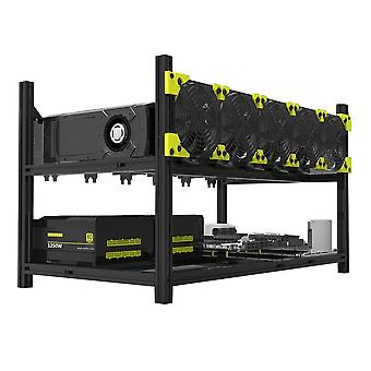 6 Gpus 5 fans low noise aluminum stackable open air mining computer frame protective net mining rack bitcoin rack only new