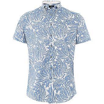 Hackett lino algodón camisa hawaiana de manga corta