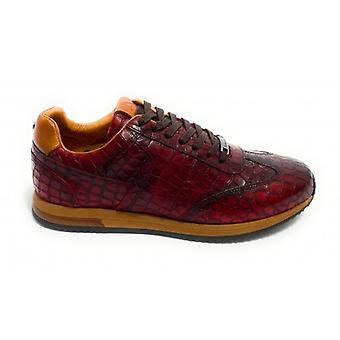 حذاء الرجال الطموح 10967 حذاء رياضي تشغيل الجلود طباعة الزواحف بوردو U21am13