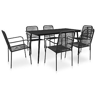 7 piezas de comedor al aire libre conjunto de cuerda de algodón y acero negro