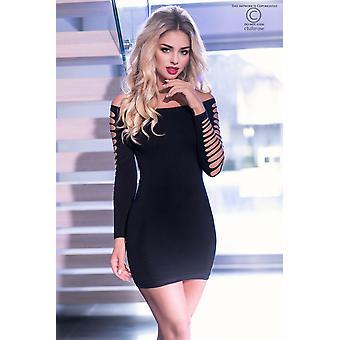 فستان قصير سلس CR3608 أسود