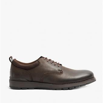 Hush Puppies Dylan Mens Leather Derby Shoes Dark Brown