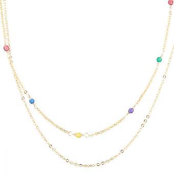 Guld halsband prydd med agat