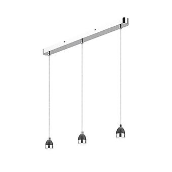 Straight Bar Modular Suspension Polished Chrome LED, 3x LED