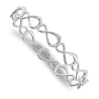 925 Sterling Sølv Hvit Is Diamant Uendelig Symbol Mansjett Stackable Bangle Armbånd Smykker Gaver Til Kvinner