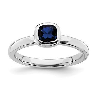 925 Sterling Sølv Ramme Polert Stablet Uttrykk Pute Kutt Cr. Safir Ring Smykker Gaver Til Kvinner - Ring Si