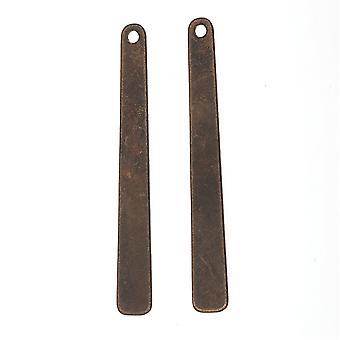 Vintaj Natural Brass, Avsmalnande rektangel hänge Tom 40x5mm, 2 stycken